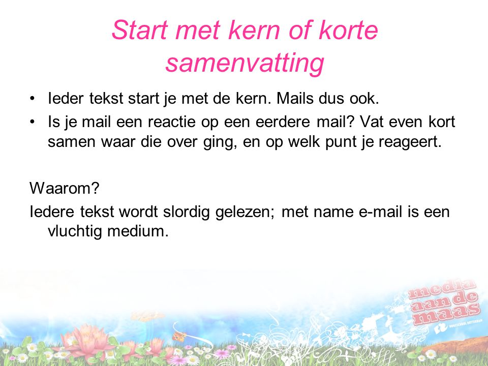Start met kern of korte samenvatting
