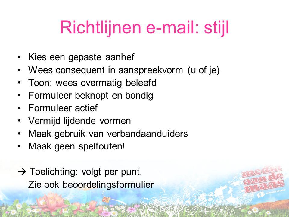 Richtlijnen e-mail: stijl