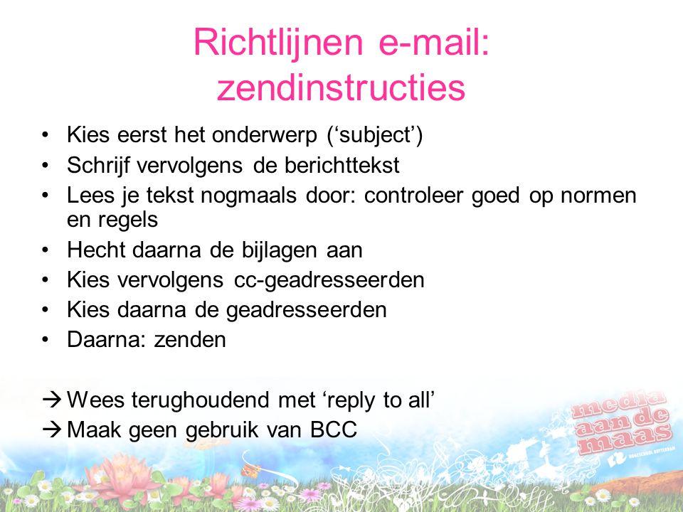 Richtlijnen e-mail: zendinstructies