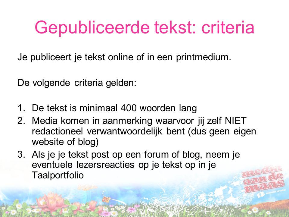 Gepubliceerde tekst: criteria