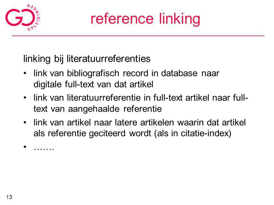 reference linking linking bij literatuurreferenties