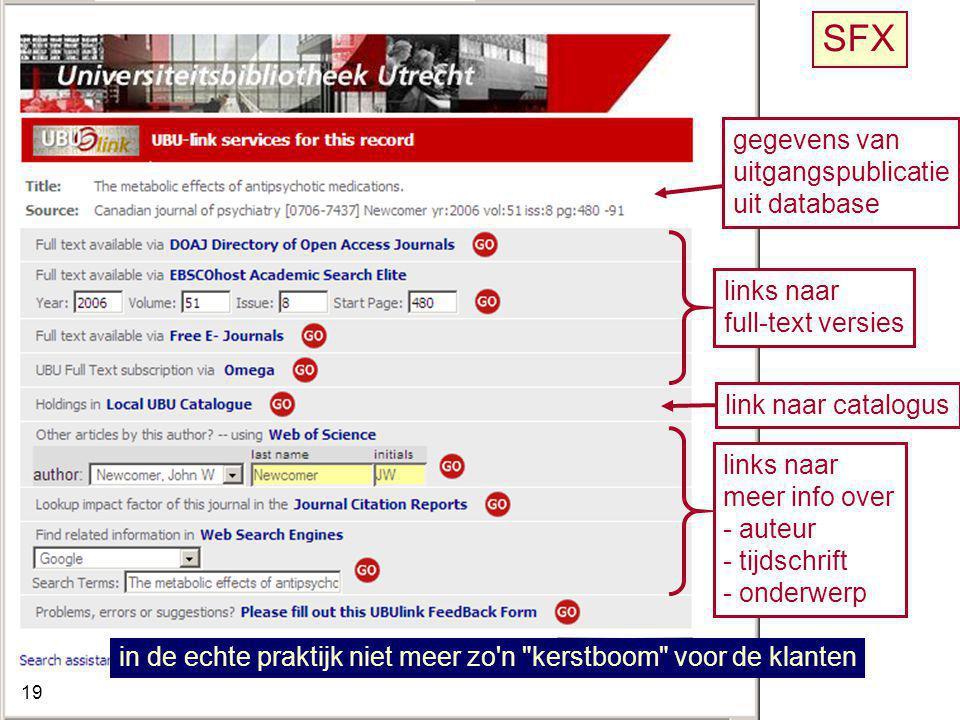 SFX gegevens van uitgangspublicatie uit database links naar
