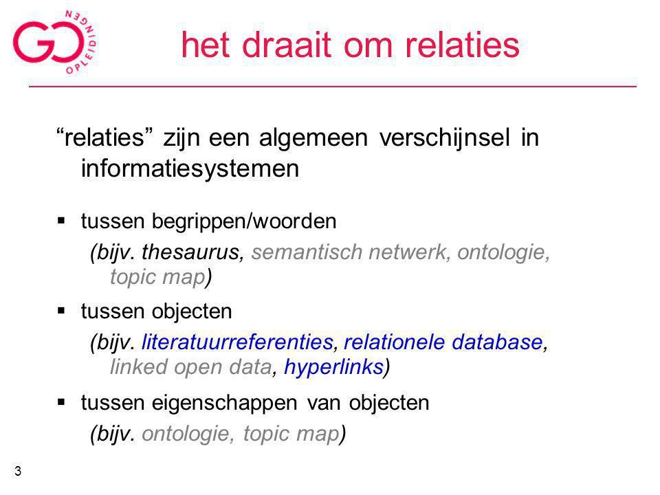 het draait om relaties relaties zijn een algemeen verschijnsel in informatiesystemen. tussen begrippen/woorden.