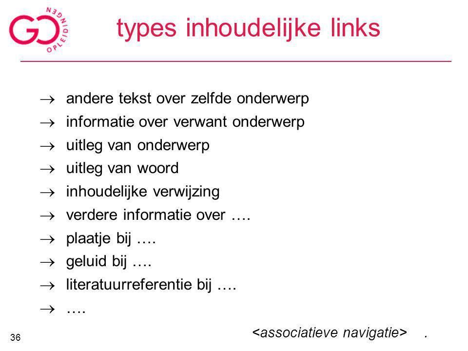 types inhoudelijke links