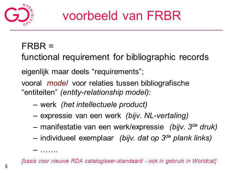 voorbeeld van FRBR FRBR =