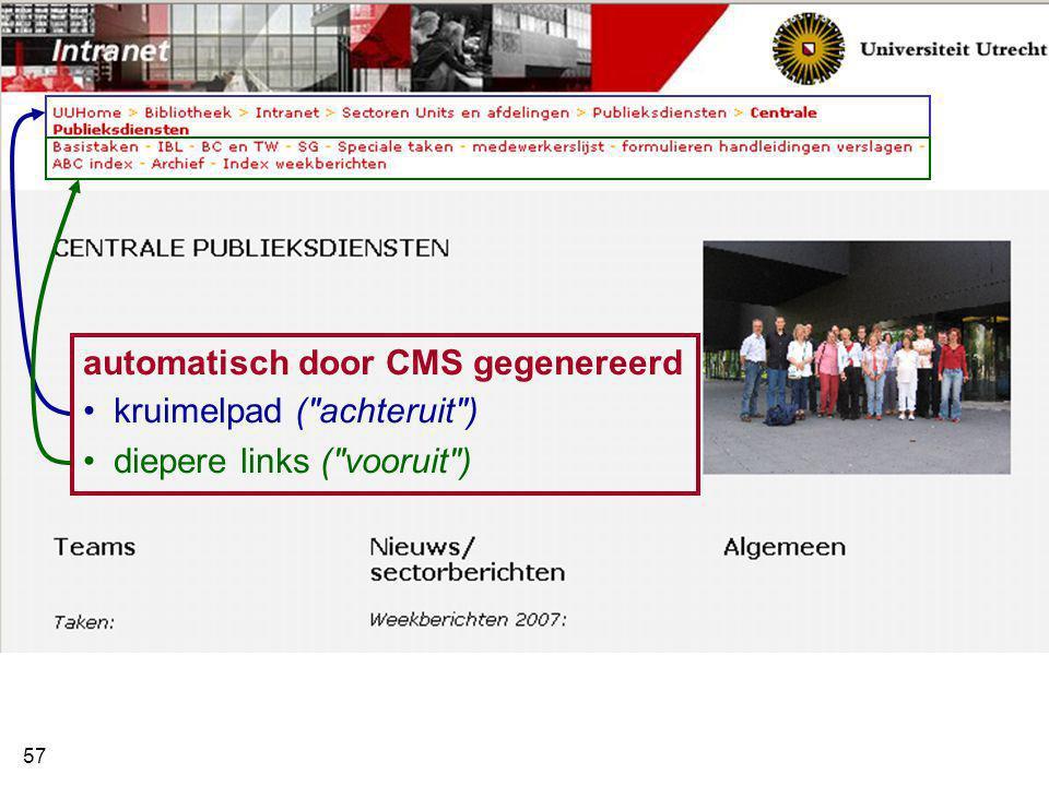 automatisch door CMS gegenereerd kruimelpad ( achteruit )