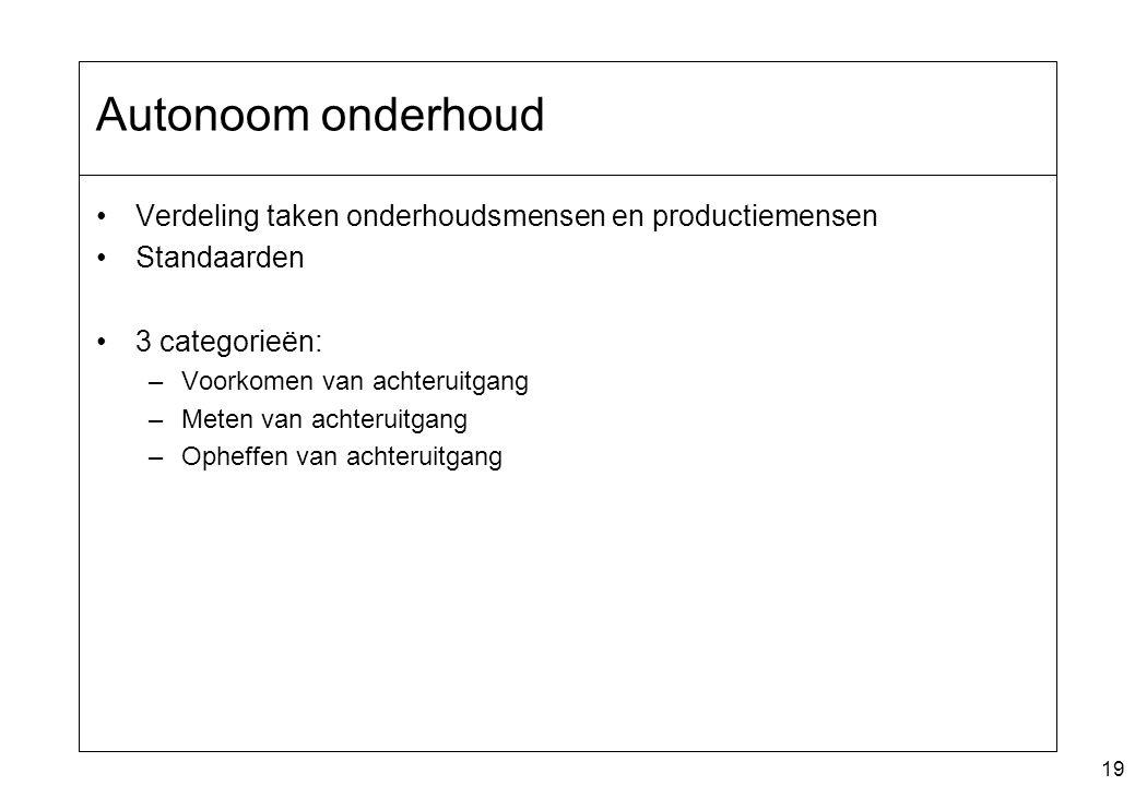Autonoom onderhoud Verdeling taken onderhoudsmensen en productiemensen