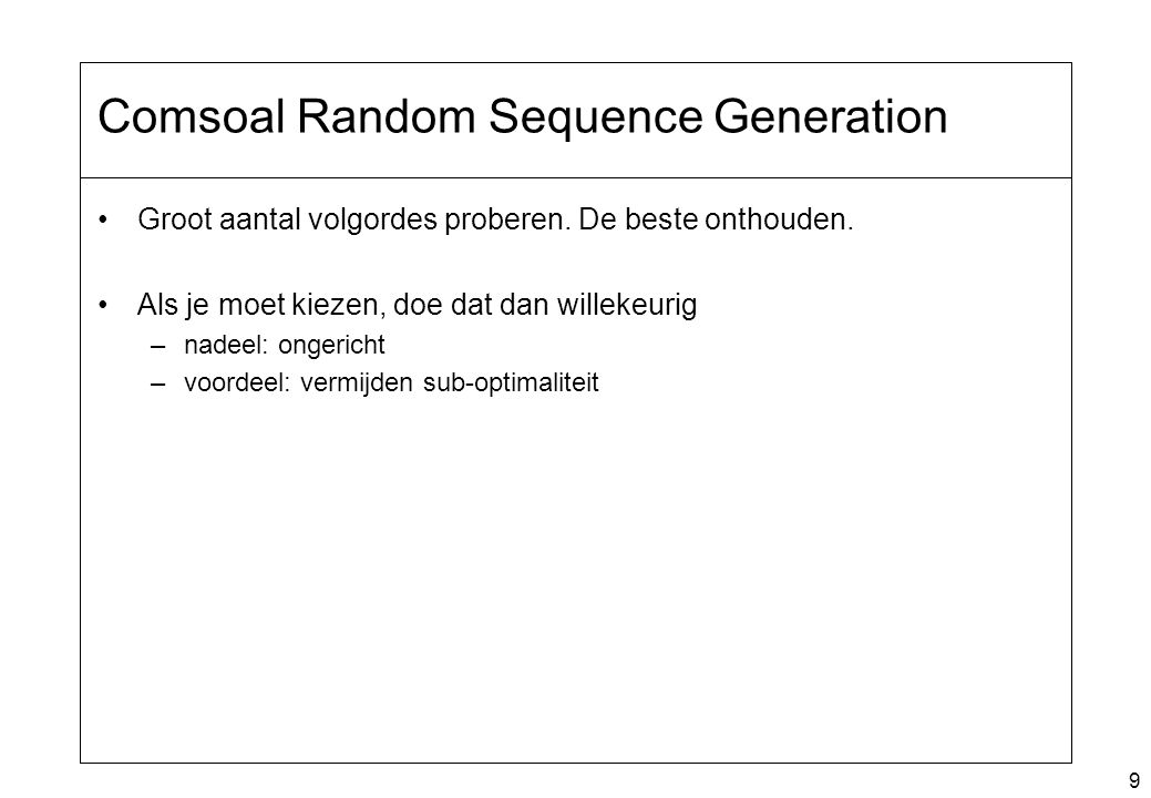 Comsoal Random Sequence Generation