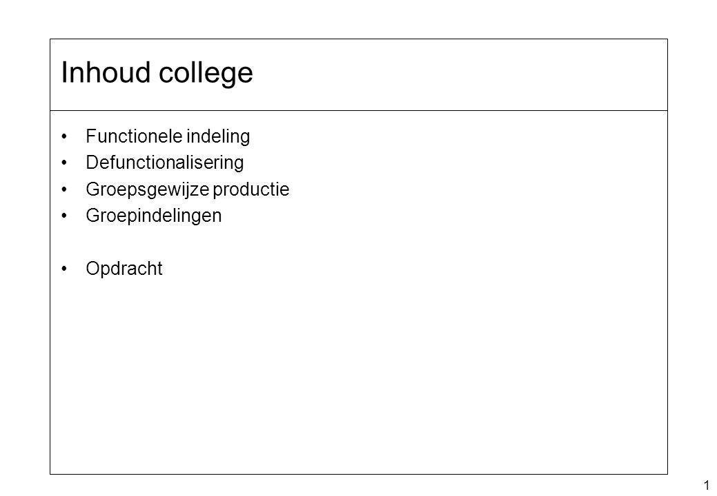 Inhoud college Functionele indeling Defunctionalisering