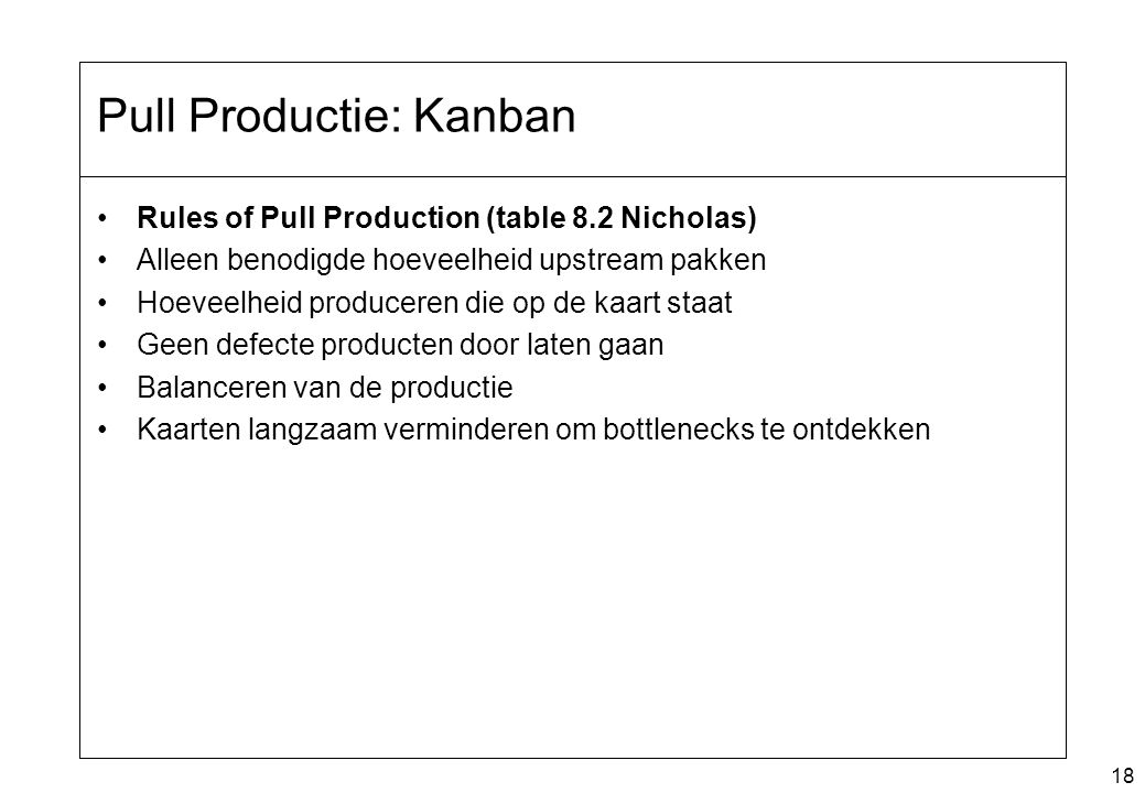Pull Productie: Kanban