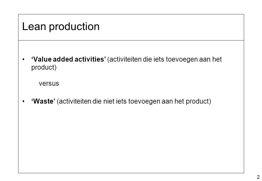 Lean production 'Value added activities' (activiteiten die iets toevoegen aan het product) versus.