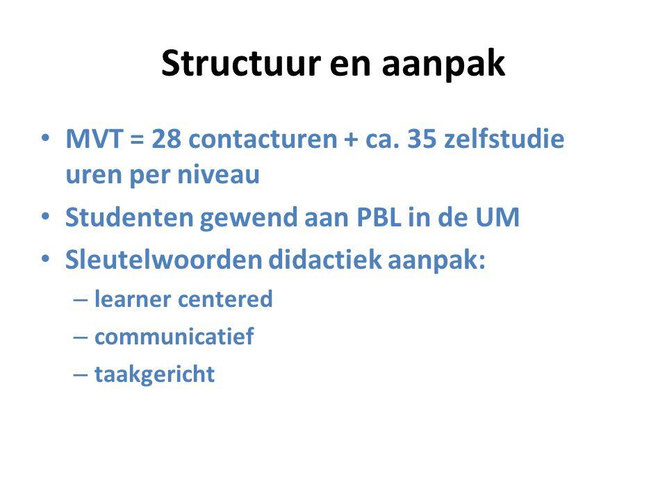 Structuur en aanpak MVT = 28 contacturen + ca. 35 zelfstudie uren per niveau. Studenten gewend aan PBL in de UM.