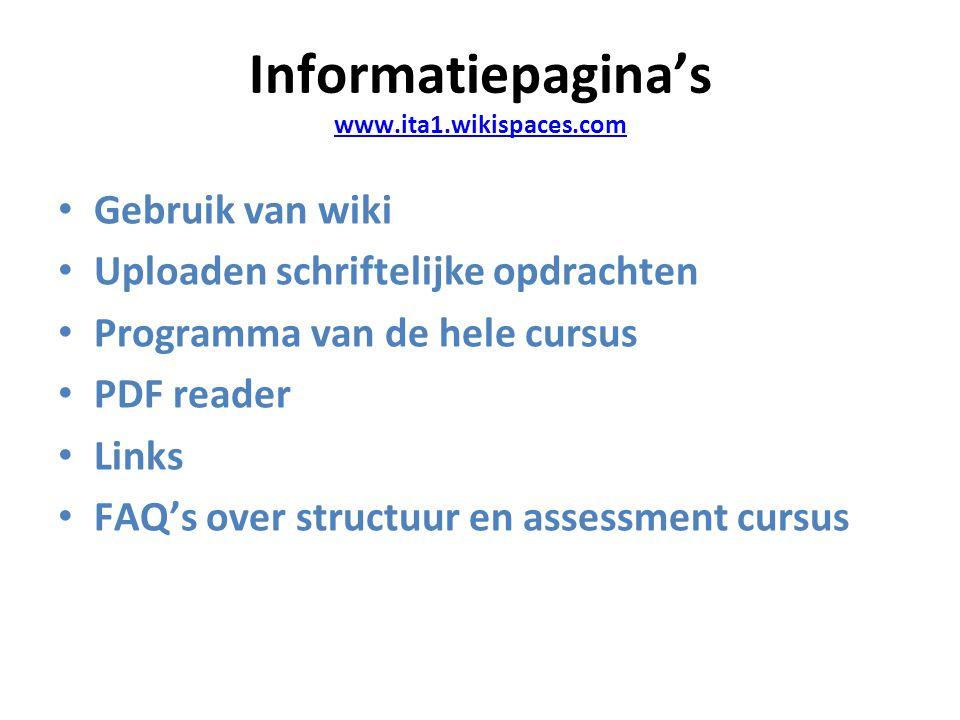 Informatiepagina's www.ita1.wikispaces.com