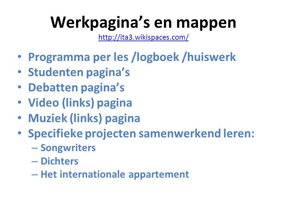 Werkpagina's en mappen http://ita3.wikispaces.com/