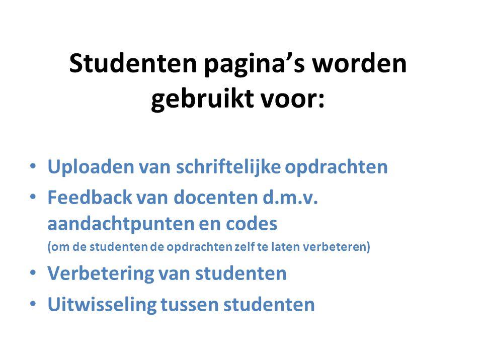 Studenten pagina's worden gebruikt voor: