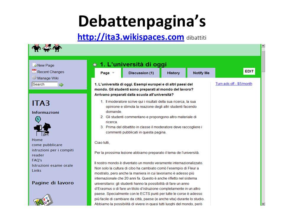 Debattenpagina's http://ita3.wikispaces.com dibattiti