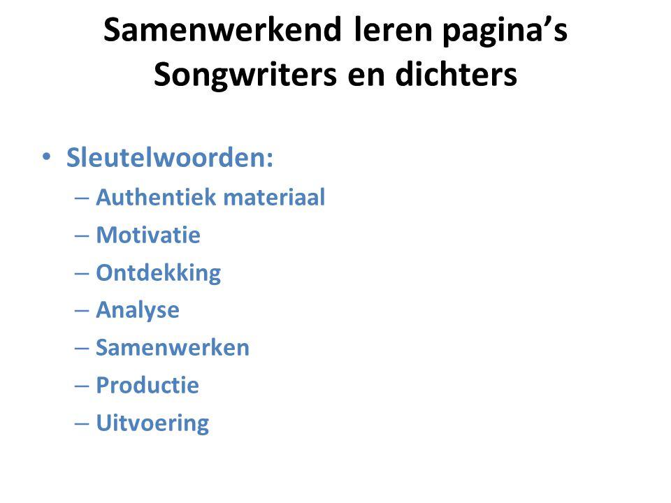 Samenwerkend leren pagina's Songwriters en dichters
