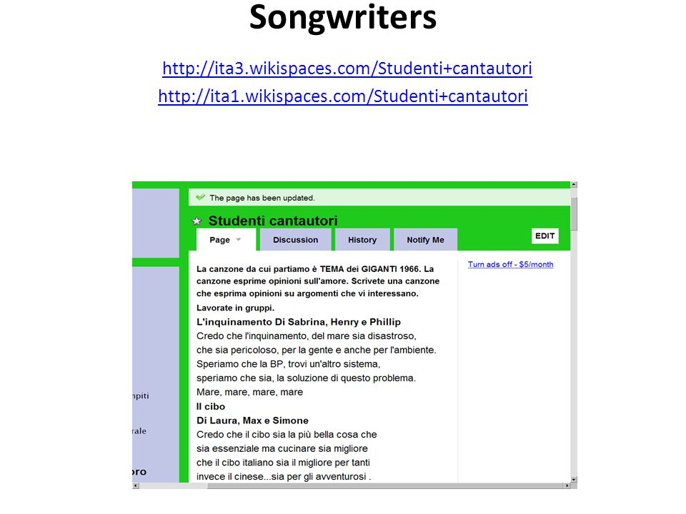 Songwriters http://ita3. wikispaces