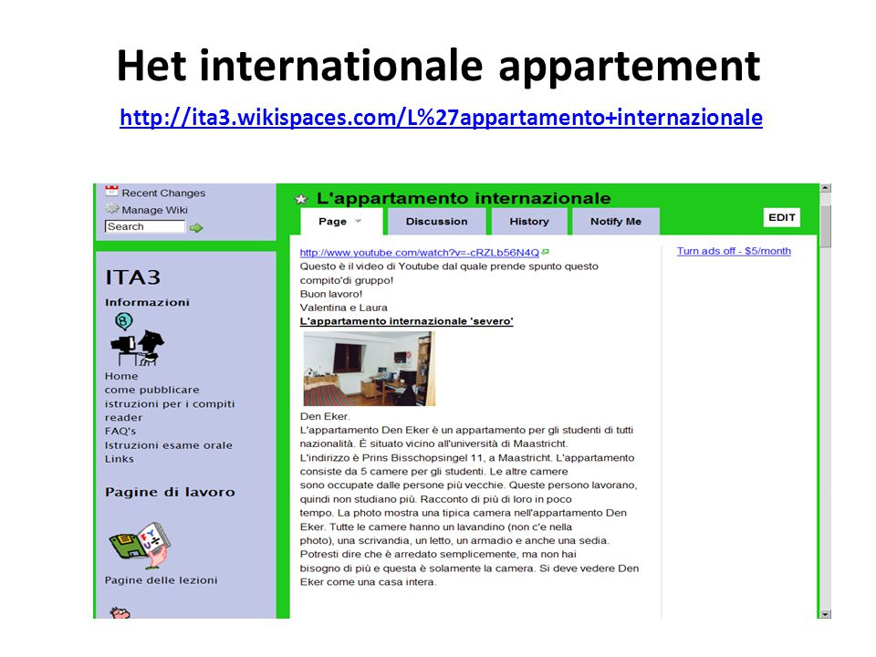 Het internationale appartement http://ita3. wikispaces