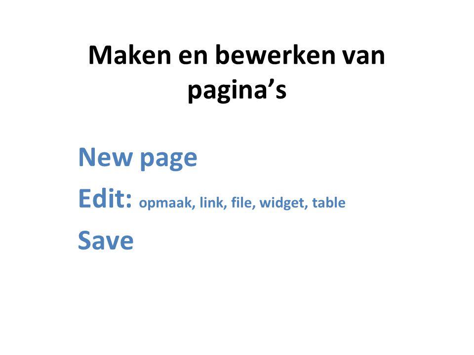 Maken en bewerken van pagina's