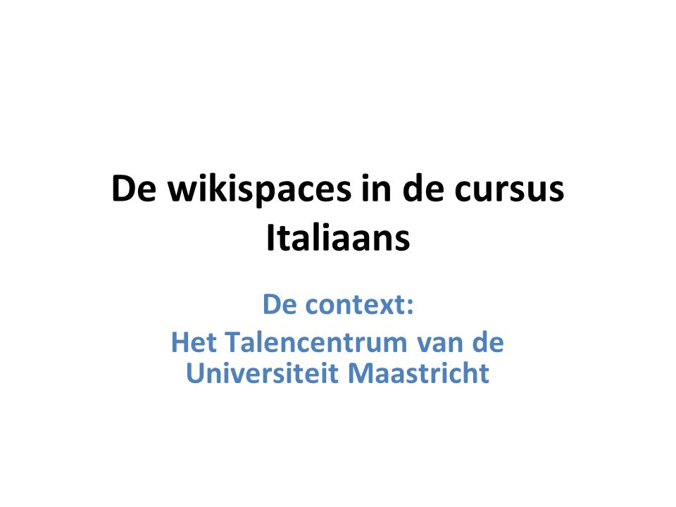 De wikispaces in de cursus Italiaans