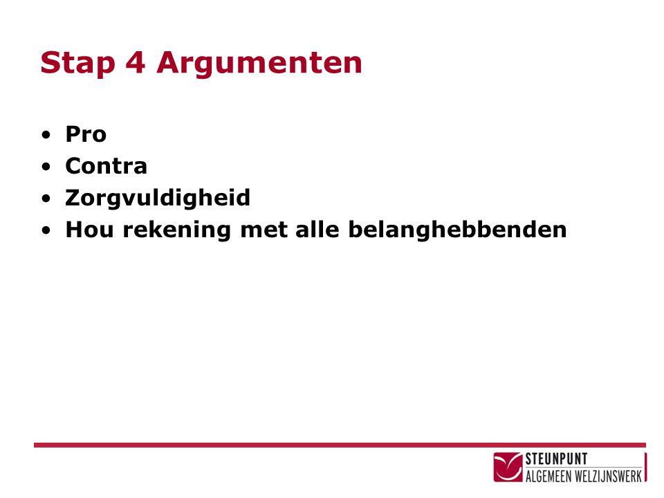 Stap 4 Argumenten Pro Contra Zorgvuldigheid