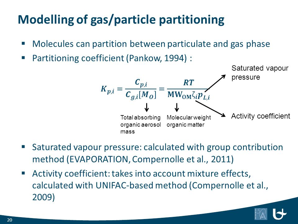 Modelling of gas/particle partitioning