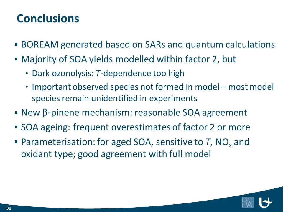 Conclusions BOREAM generated based on SARs and quantum calculations