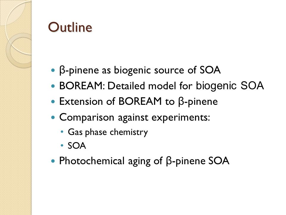 Outline β-pinene as biogenic source of SOA