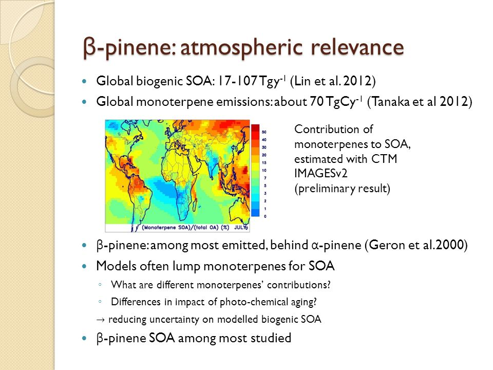 β-pinene: atmospheric relevance