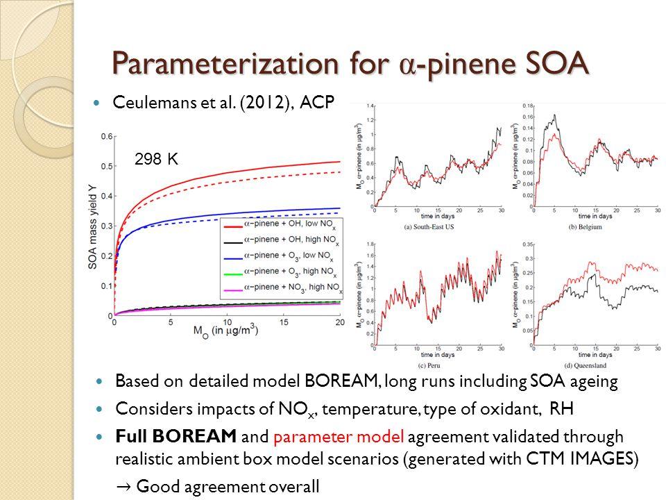 Parameterization for α-pinene SOA