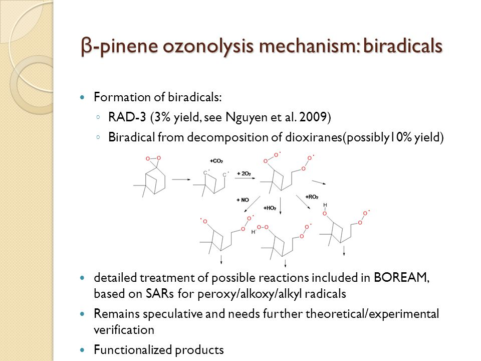 β-pinene ozonolysis mechanism: biradicals