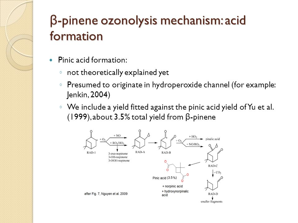 β-pinene ozonolysis mechanism: acid formation