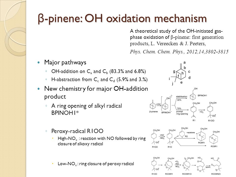 β-pinene: OH oxidation mechanism