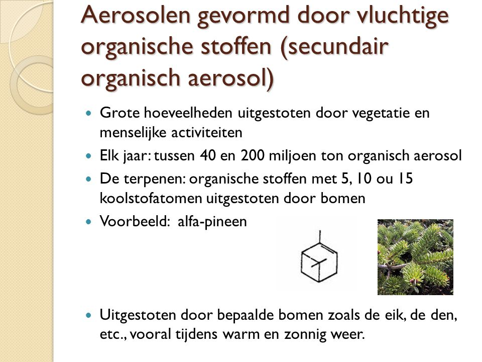 Aerosolen gevormd door vluchtige organische stoffen (secundair organisch aerosol)