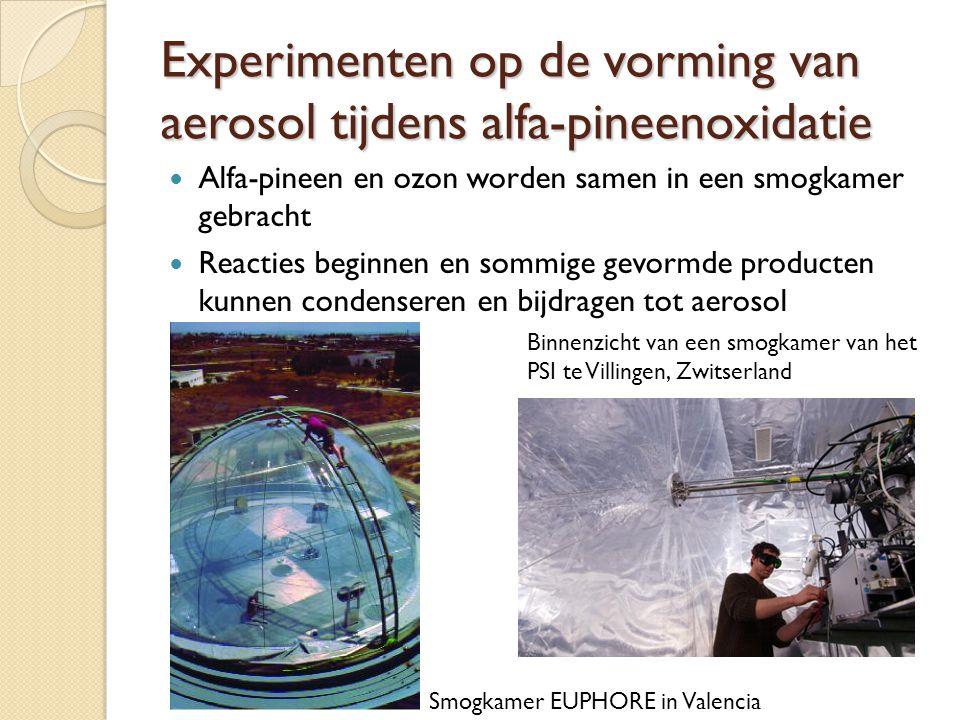 Experimenten op de vorming van aerosol tijdens alfa-pineenoxidatie