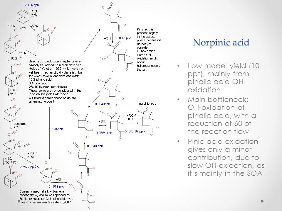 Norpinic acid Low model yield (10 ppt), mainly from pinalic acid OH-oxidation.