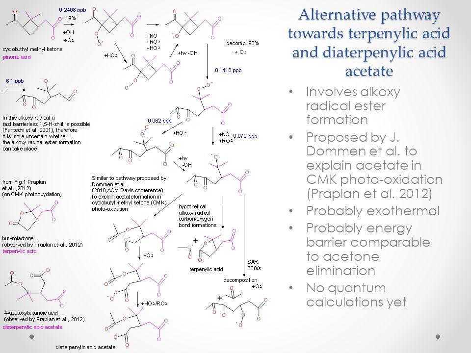 Alternative pathway towards terpenylic acid and diaterpenylic acid acetate