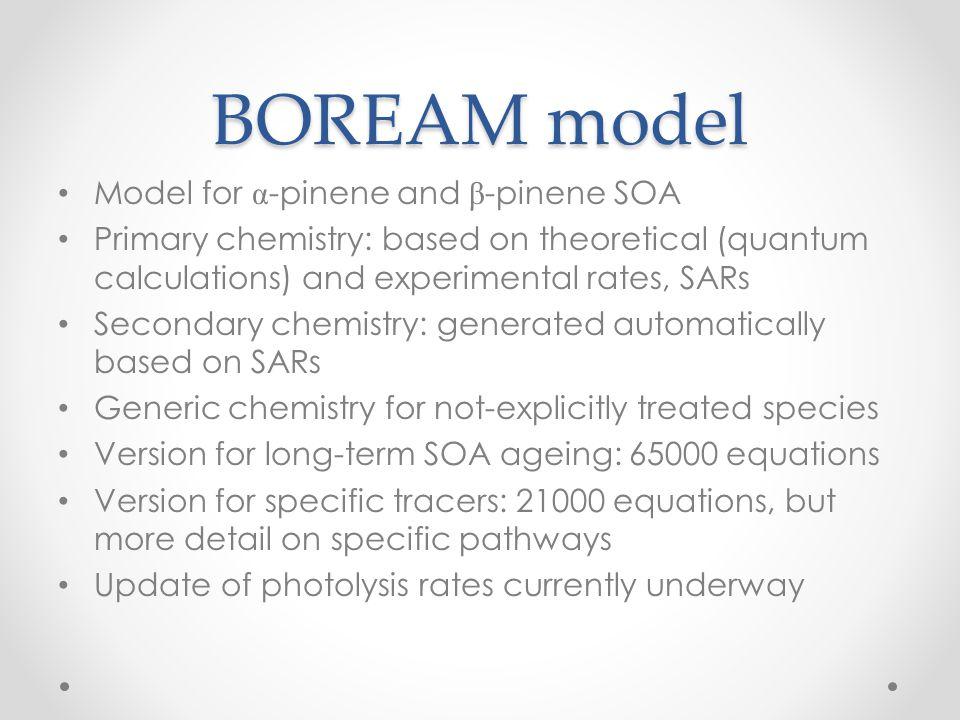 BOREAM model Model for α-pinene and β-pinene SOA