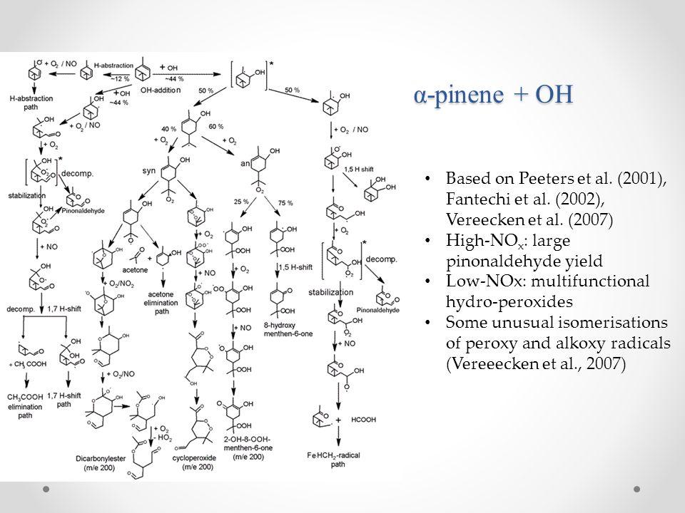 α-pinene + OH Based on Peeters et al. (2001), Fantechi et al. (2002),