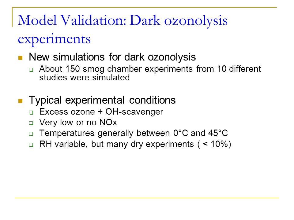 Model Validation: Dark ozonolysis experiments