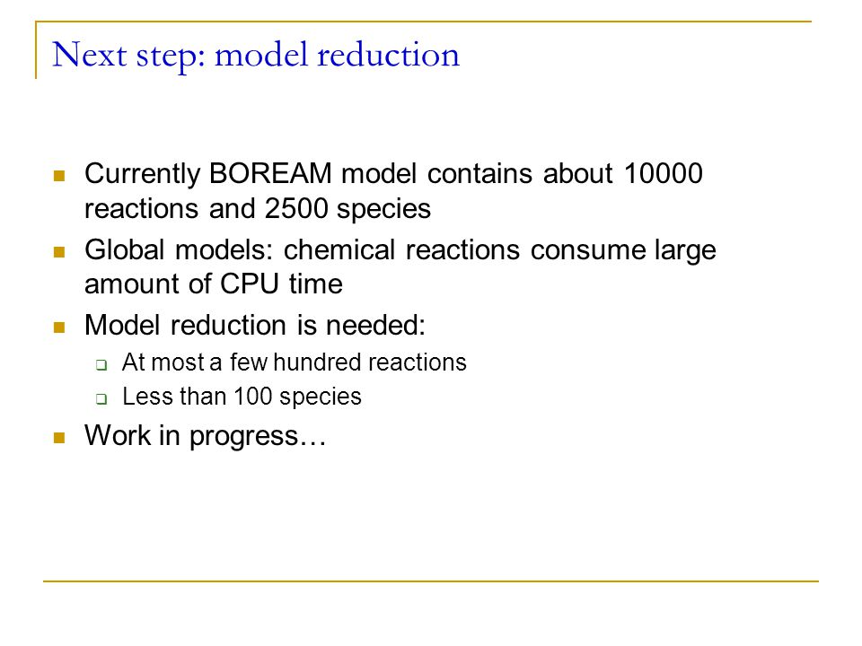 Next step: model reduction