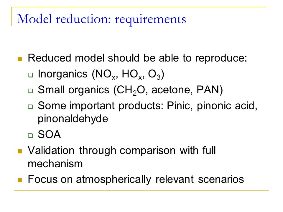 Model reduction: requirements