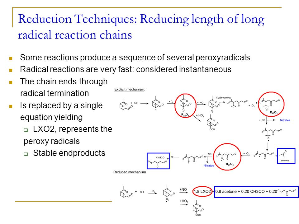 Reduction Techniques: Reducing length of long radical reaction chains