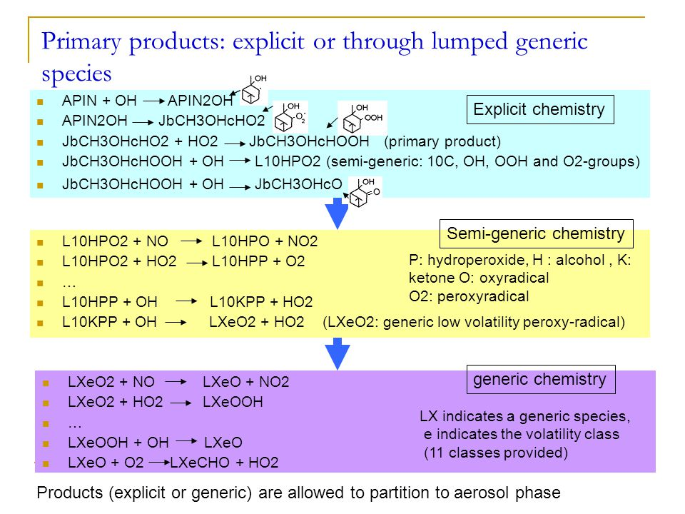Primary products: explicit or through lumped generic species