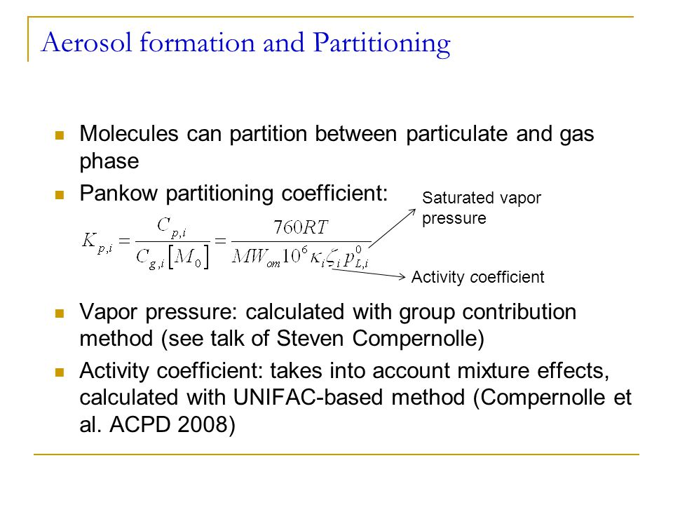 Aerosol formation and Partitioning