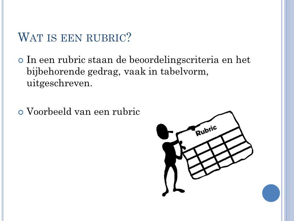 Wat is een rubric In een rubric staan de beoordelingscriteria en het bijbehorende gedrag, vaak in tabelvorm, uitgeschreven.