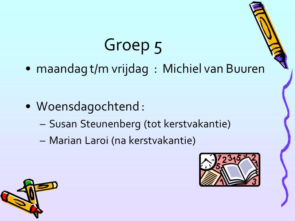 Groep 5 maandag t/m vrijdag : Michiel van Buuren Woensdagochtend :