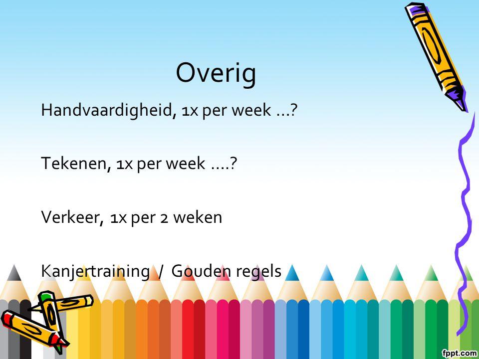 Overig Handvaardigheid, 1x per week … Tekenen, 1x per week ….