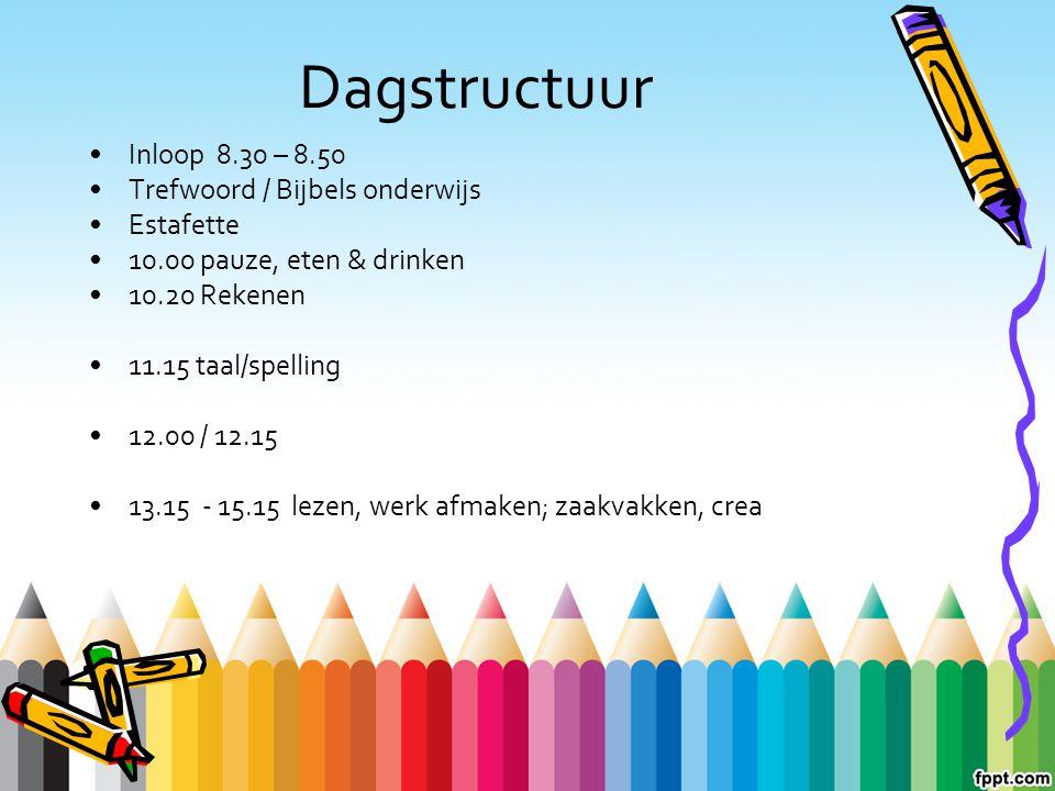 Dagstructuur Inloop 8.30 – 8.50 Trefwoord / Bijbels onderwijs